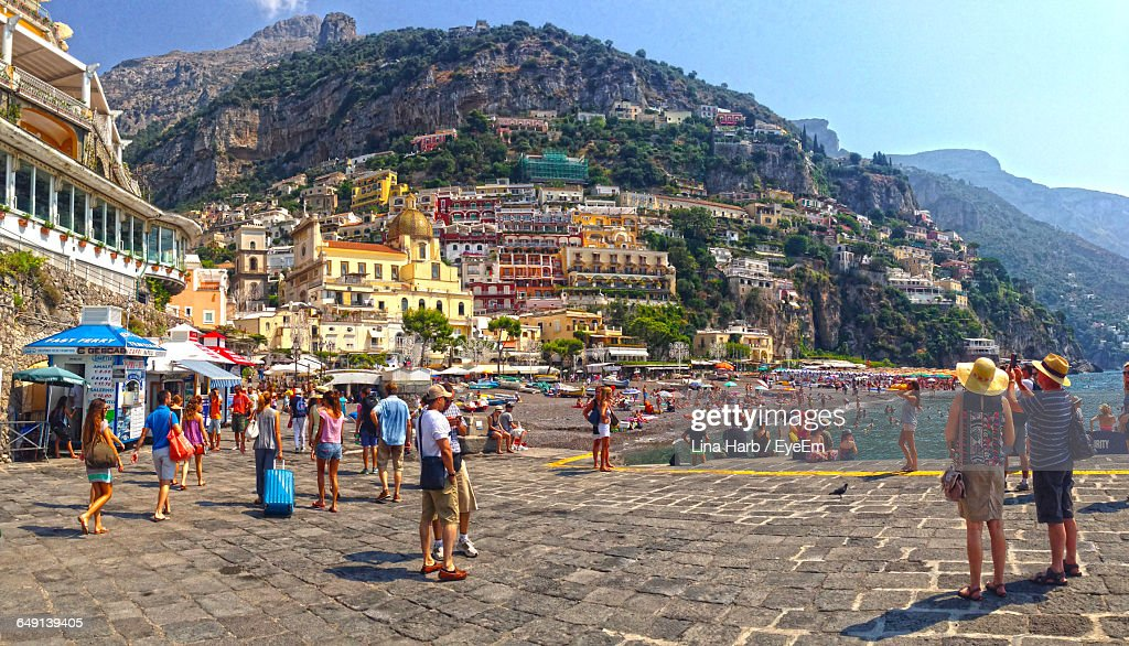 Crowds On Walkway And Beach At Positano : Stock Photo