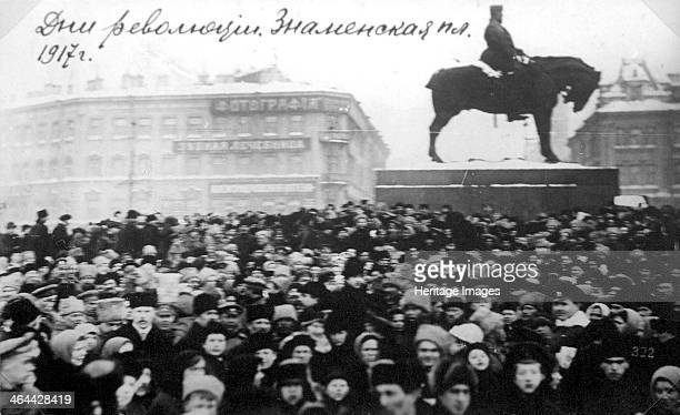 Crowds on Znamenskaya Square Petrograd Russia February Revolution 1917 The February Revolution led to the abdication of Tsar Nicholas II and the...