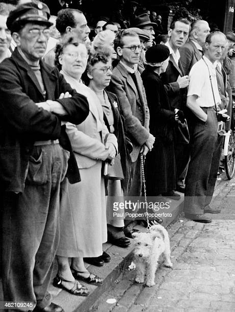 Crowds outside Holloway Prison where Ruth Ellis is about to be hanged for the murder of David Blakely London 13th July 1955 Ellis was the last woman...