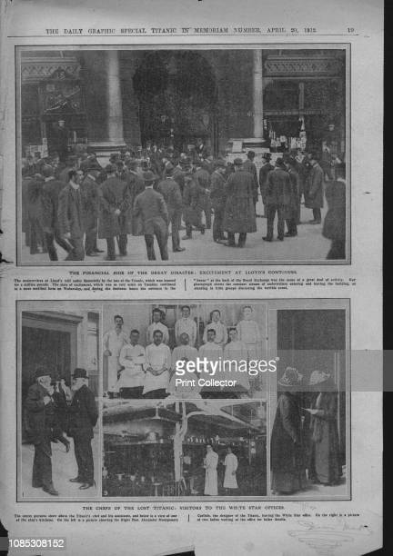 Crowds outside Lloyd's of London chefs on board and visitors at the White Star offices April 20 1912 'The Financial Side of the Great Disaster...