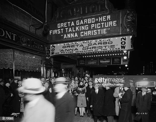 Crowds outside the Capitol Theatre in New York for the premiere of 'Anna Christie' Swedish born American actress Greta Garbo's first talking picture