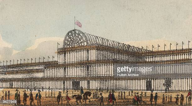 Crowds outside the Crystal Palace in London's Hyde Park, venue of the 1851 Great Exhibition. The massive iron and glass structure was designed by Sir...