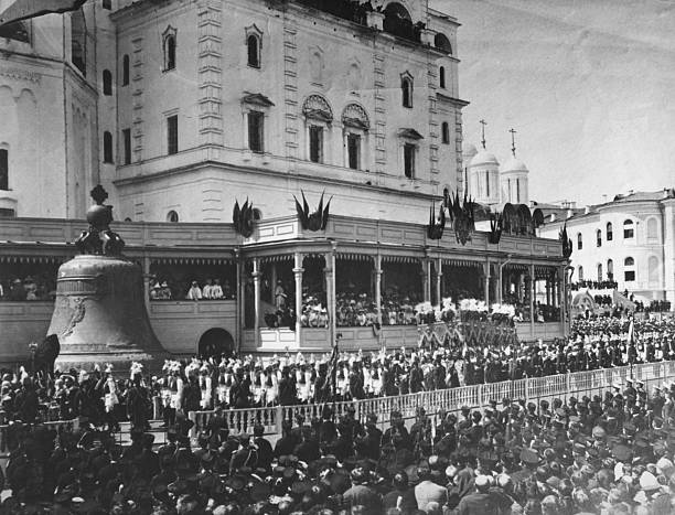 Crowds outside the Kremlin during the coronation of...
