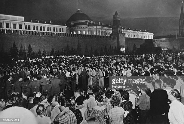 Crowds outside the Kremlin in Red Square on the opening night of the 6th World Festival of Youth and Students Moscow former Soviet Union 30th July...