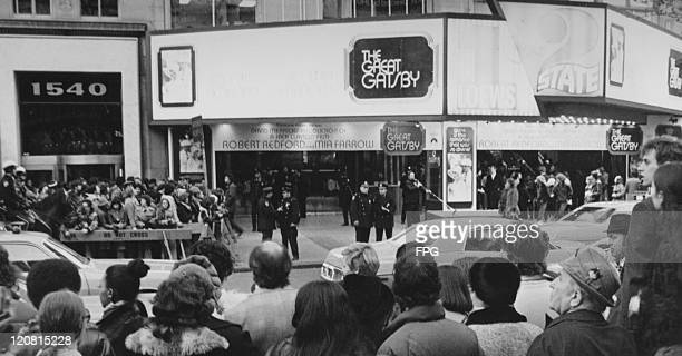 Crowds outside the premiere of Jack Clayton's film 'The Great Gatsby', New York City, 27th March 1974.