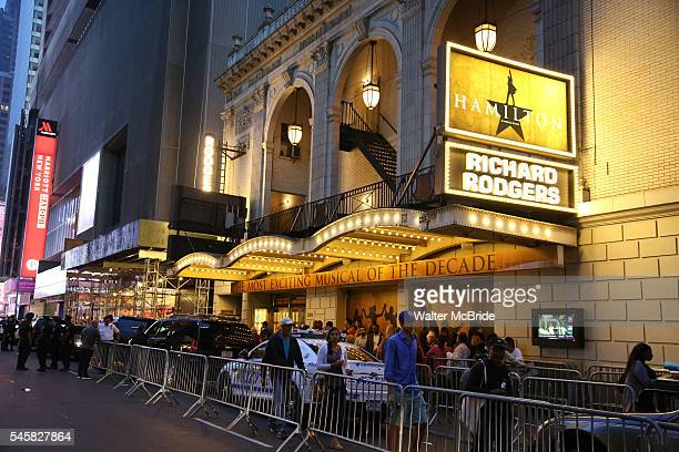 Crowds outside the theatre for the final performance of LinManuel Miranda in 'Hamilton' on Broadway at Richard Rodgers Theatre on July 9 2016 in New...