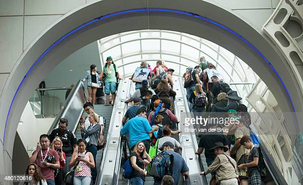 Crowds pack the convention center escalator at Comic-Con on July 9, 2015 in San Diego, California.