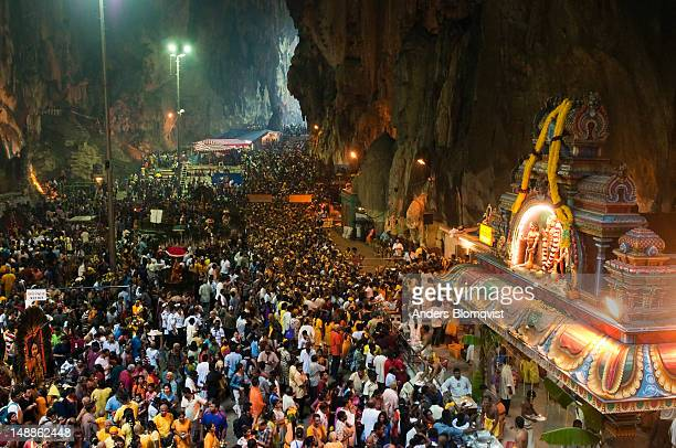 Crowds packing into Batu Caves during Thaipusam Festival.