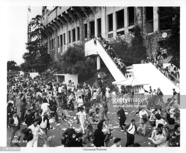 Crowds panic at Los Angeles Coliseum in a scene from the film 'Two-Minute Warning', 1976.