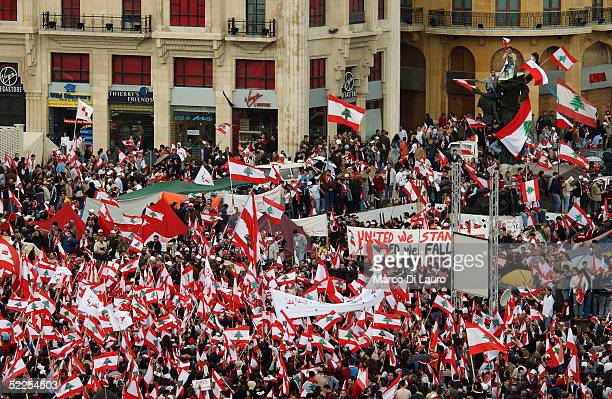 Crowds participate in an antiSyrian demonstration despite resistance from Lebanese Army Soldiers on February 28 2005 in central Beirut Lebanon...