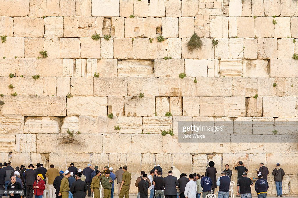 Crowds preying at the Western Wall, Wailing Wall or Kotel, Old Jerusalem, Israel : Stock Photo