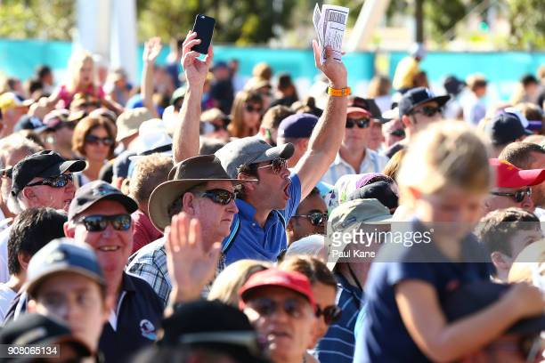 Crowds show their enthusiam while waiting to enter the stadium following the official opening at Optus Stadium on January 21 2018 in Perth Australia...