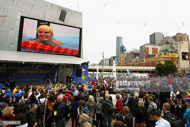 Crowds show their support during the Australian Olympic Team Homecoming Parade at Federation Square on August 22 2012 in Melbourne Australia