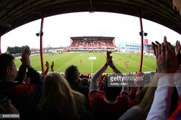 Crowds show their support during the BetFred Super League match between Hull KR and Hull FC at KCOM Craven Park on March 30, 2018 in Hull, England.