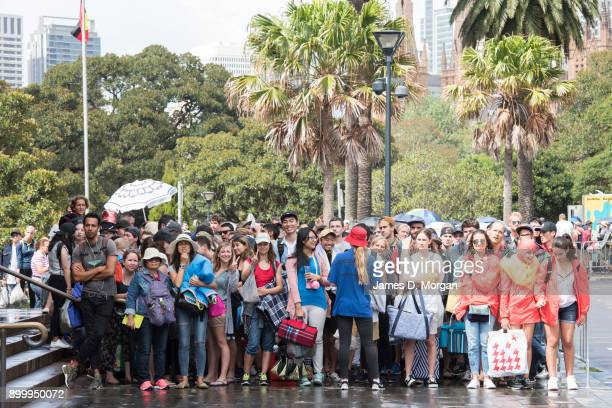 Crowds start lining up to enter Mrs Macquarie's Chair hours before the midnight fireworks on New Year's Eve on December 31 2017 in Sydney Australia...