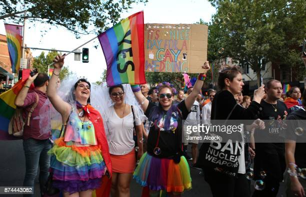 Crowds supporting the Same Sex Marriage Survey party down Oxford St in the heart of Sydney's gay precinct on November 15 2017 in Sydney Australia...