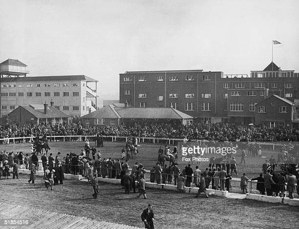 Crowds surround the paddock before the start of the Spring Maiden Stakes at Newbury 1st April 1949 This is the first race at Newbury since World War...