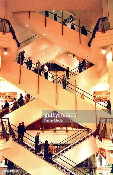 Crowds travel on department store escalators 26 July 2000 AFR Picture by PHIL CARRICK