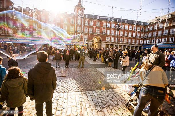 Crowds visiting Christmas Market on Plaza Mayor, Madrid
