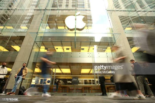 Crowds wait in anticipation for the Australian release of the latest iPhone models at Apple Store on September 20, 2019 in Sydney, Australia. Apple's...