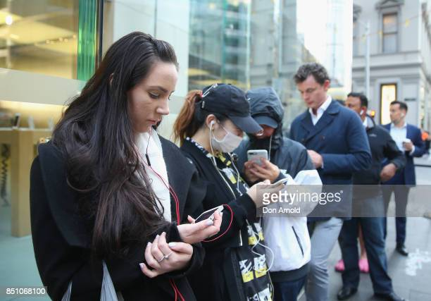 Crowds wait in anticipation for the release of the iPhone 8 and 8 Plus at Apple Store on September 22 2017 in Sydney Australia Apple's latest iPhone...