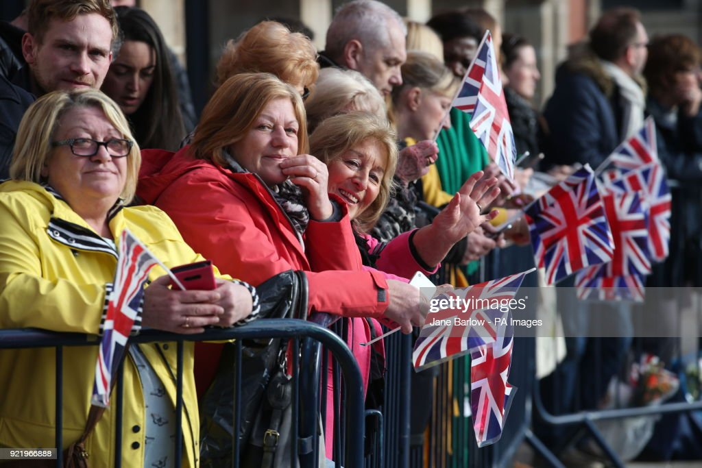 Crowds waiting outside the Fire Station arts centre in Sunderland ahead of a visit by the Duke and Duchess of Cambridge.