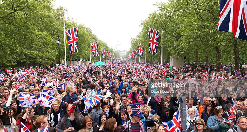 Crowds walk down thwe Mall after the Royal Wedding of Prince William to Catherine Middleton on April 29, 2011 in London, England. The marriage of the second in line to the British throne was led by the Archbishop of Canterbury and was attended by 1900 guests, including foreign Royal family members and heads of state. Thousands of well-wishers from around the world have also flocked to London to witness the spectacle and pageantry of the Royal Wedding.