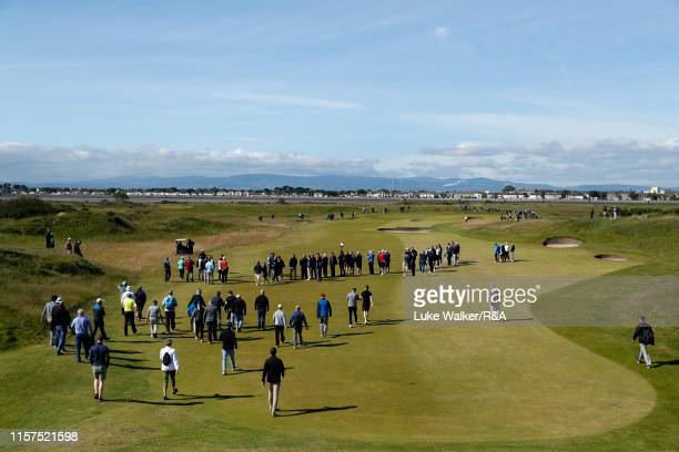 Crowds walk on the golf course during the finals during day six of the RA Amateur Championship at Portmarnock Golf Club on June 22 2019 in...