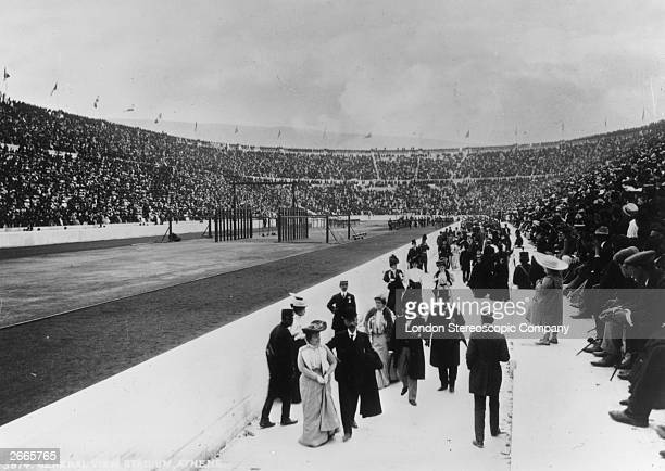 Crowds walking around the Olympic Stadium in Athens, during the first modern Olympic Games.