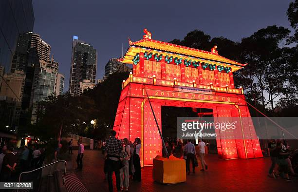 Crowds walking through the installations at the 2017 Chinese New Year Lantern Festival at Tumbalong Park on January 20 2017 in Sydney Australia The...