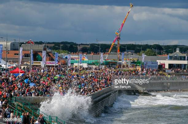 Crowds watch acrobatic performances during the 30th Sunderland International Air show on July 28 2018 in Sunderland England Held over three days on...