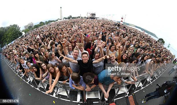 Crowds watch Anne Marie perform during 'MTV Crashes Plymouth' at Plymouth Hoe on July 28 2016 in Plymouth England
