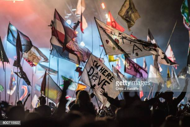 Crowds watch Foo Fighters headline the Pyramid stage at Glastonbury Festival Site on June 24 2017 in Glastonbury England Glastonbury Festival of...
