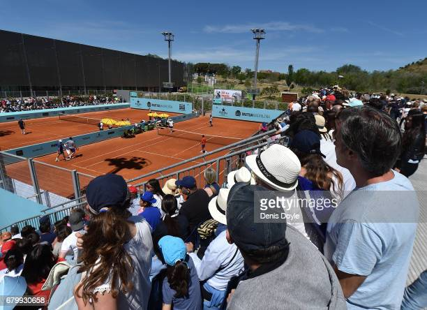 Crowds watch Rafa Nadal practice during day two of the Mutua Madrid Open tennis at La Caja Magica on May 7 2017 in Madrid Spain