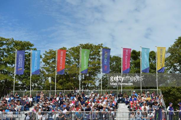 Crowds watch the action on the 1st tee during the team competition mixed foursomes stroke play during day four of the European Golf Team...