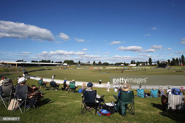 Crowds watch the Ford Trophy FInal match between the Wellington Firebirds and the Northern Knights on April 5, 2014 in Mount Maunganui, New Zealand.