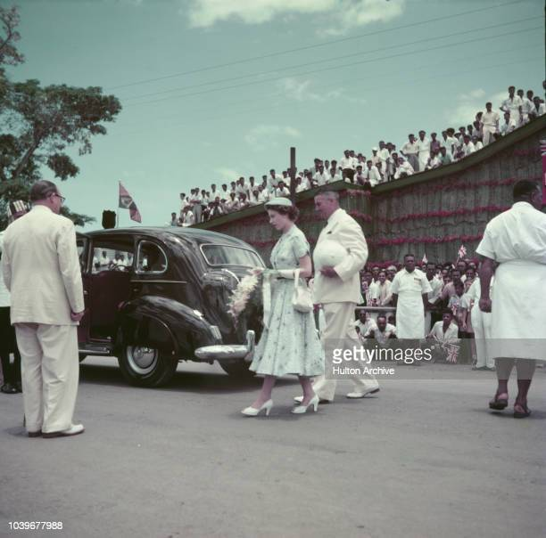 Crowds watching Queen Elizabeth II at Lautoka Wharf, during her visit to Fiji, on the coronation world tour, December 1953.