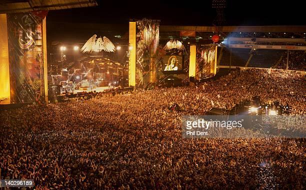 Crowds watching the Freddie Mercury Tribute Concert Wembley Stadium London April 20 1992