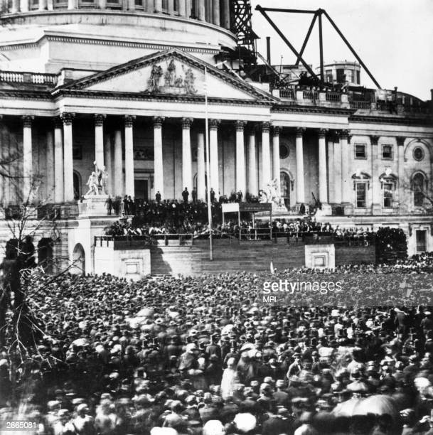 Crowds watching the inauguration of President Abraham Lincoln on 4th March 1861