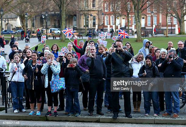 Crowds wave and take photographs of Olympic Snowboarder Jenny Jones as she completes a bus tour of her home city to celebrate her success in the...