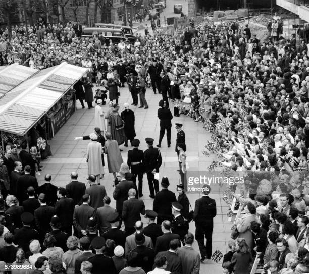 Crowds welcome the Queen and Duke to the Bull Ring 24th May 1963
