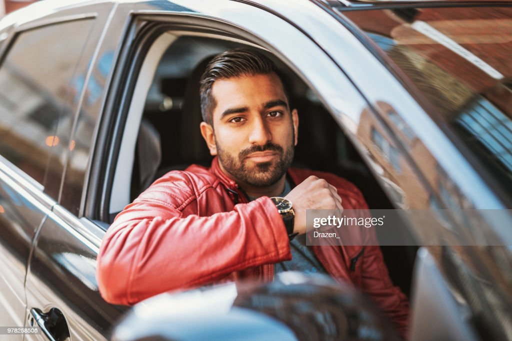 Crowdsourced taxi driver in England : Stock Photo