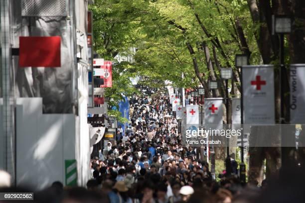 Crowdy Omotesando Street in Shibuya / Harajuku, Tokyo, Japan