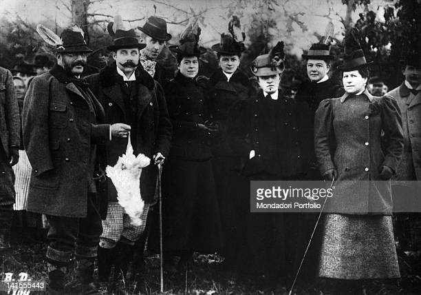 Crown Archduke Francis Ferdinand of Austria and his future wife Countess Sophie Chotek taking part in a hunting expedition as guests of the Archduke...
