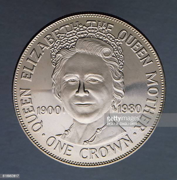 Crown coin, 80th Anniversary of Elizabeth the Queen Mother reverse, Elizabeth Bowes-Lyon . Isle of Man, 20th century.
