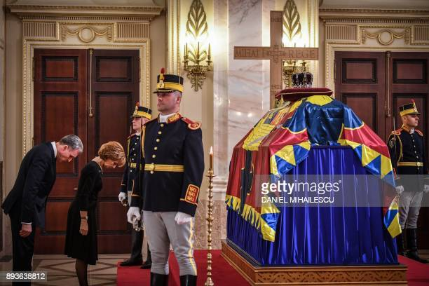 Crown custodian Princess Margaret the daughter of King Michael and her husband Radu Duda pay their respects to the late King Michael I of Romania...