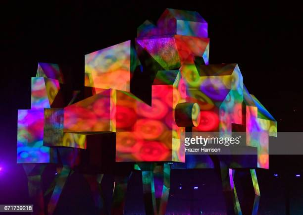 Crown Ether art installation by Olalekan Jeyifous is seen during day 2 of the 2017 Coachella Valley Music Arts Festival at the Empire Polo Club on...