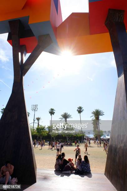 Crown Ether by Olalekan Jeyifous is seen during the Outdoor Theatre during day 3 of the Coachella Valley Music And Arts Festival at the Empire Polo...
