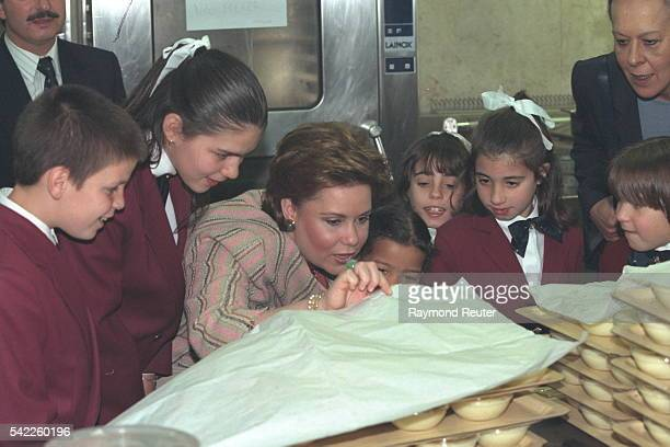 Crown GrandDuchess Maria Teresa of Luxembourg touring the 'Casa Pia' orphanage in Belem