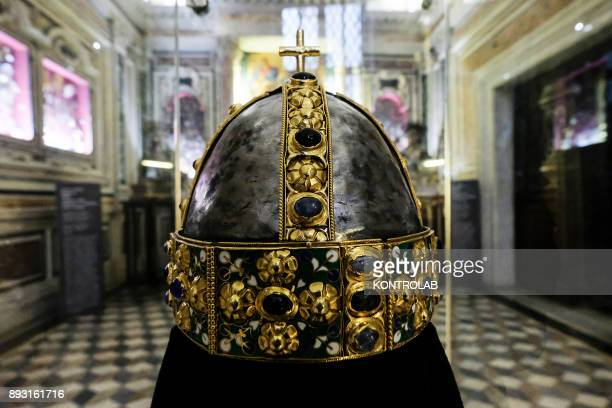 A crown in gold and precious stones in the museum of Saint Januarius in the Cathedral of Naples